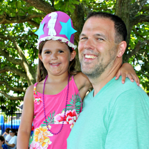 Dad and daughter enjoying the Family Fun day at the Cape May Lighthouse
