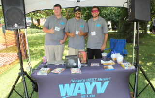 WAYV 95.1 fm radio station staff running sound at the cape may mac Craft beer, Music & Crab Festival