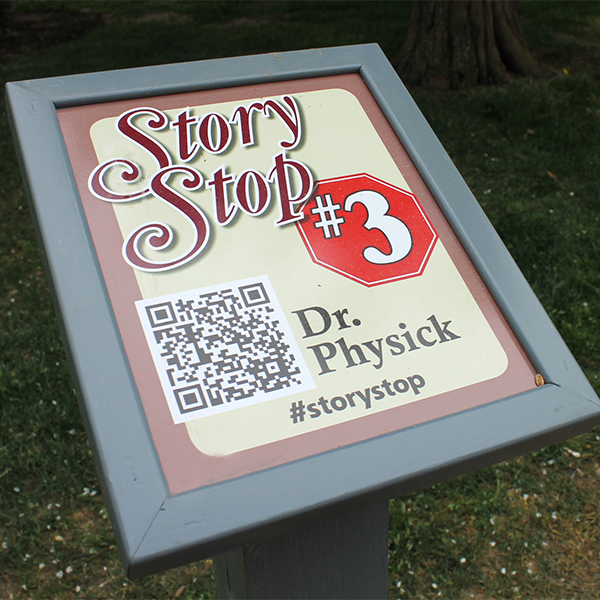 a photo of a Cape May MAC Story Stop fixture used by self-guided tour goers.