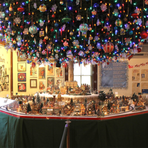 a ton of christmas ornaments and dicken villages on display at the cape may mac An Old Fashioned Christmas Exhibit