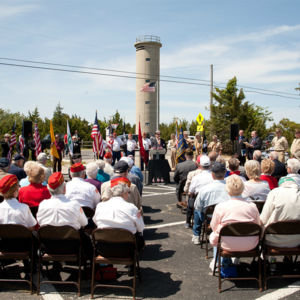 The Public, including many Veterans, gather for Armed Forces Day at the World War II Lookout Tower in Cape May, New Jersey
