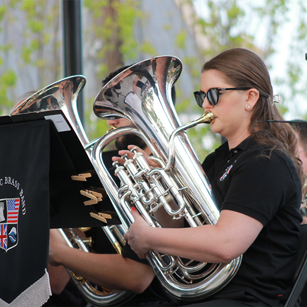 a female trombone player for the atlantic brass band