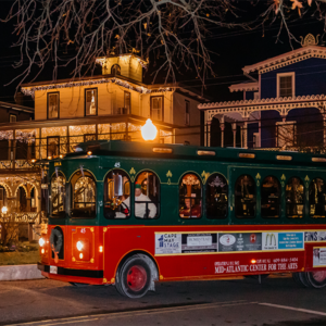 CAPE MAY TROLLEY TOUR AT CHRISTMAS WITH LIGHTS ON THE HOUSES
