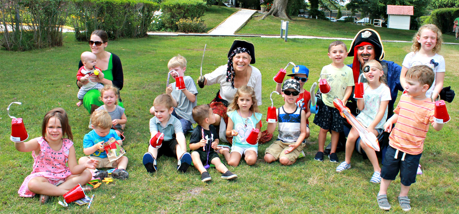 lots of kids and few adults dressed as pirates for the breakfast of pirates at the emlen physick estate