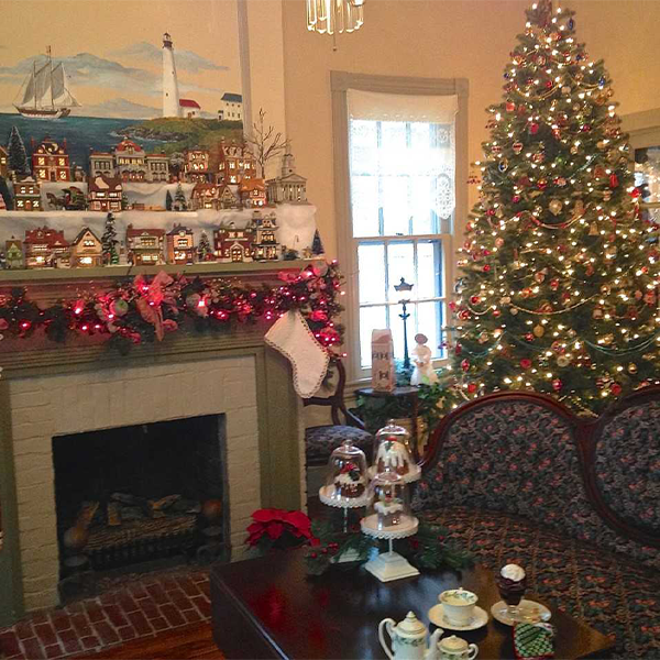 interior photo of the the cape may Cherry House private home decorated for christmas