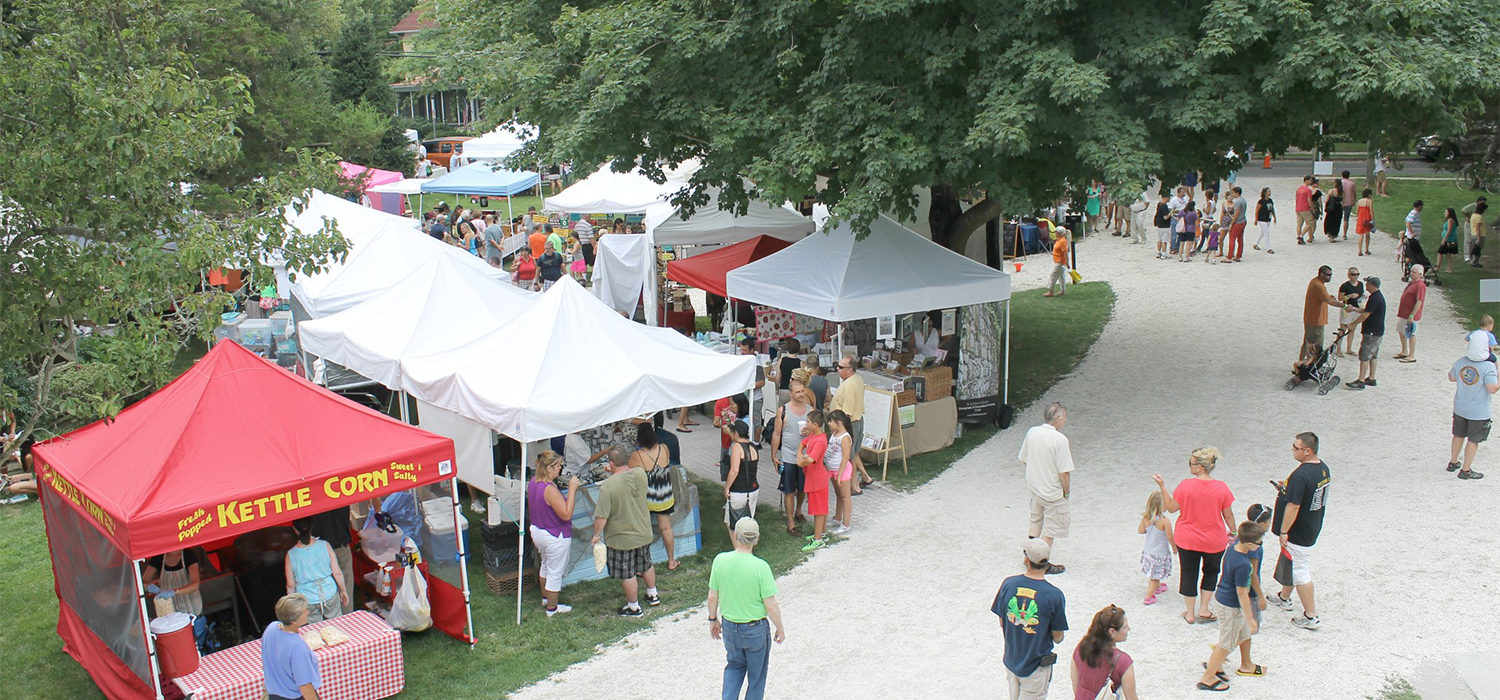 birdseye view of vendor tents set up at the