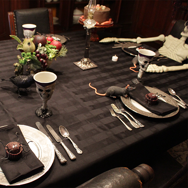 Halloween place setting on the emlen physick estate dining room table
