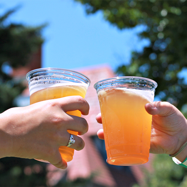 TWO HANDS HOLDING BEERS AND CLANKING THEM TOGETHER FOR A CHEERS AT A FESTIVAL IN CAPE MAY