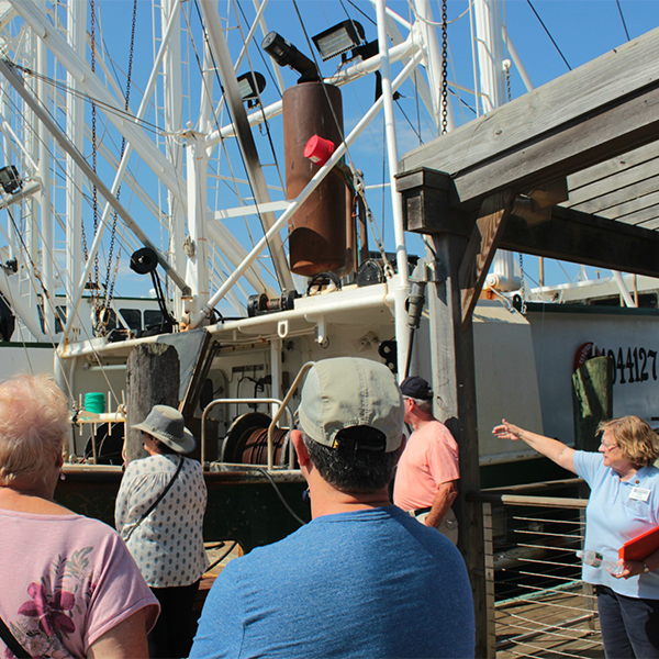 a grounp of people taking a tour on a dock with fisherman boats