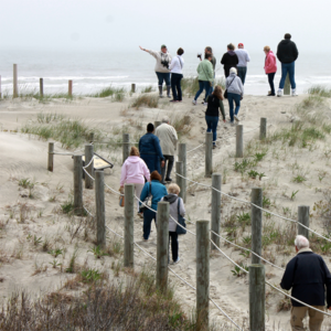 Friends of the Lighthouse walking onto Cape May Point Beach to do some beachcombing