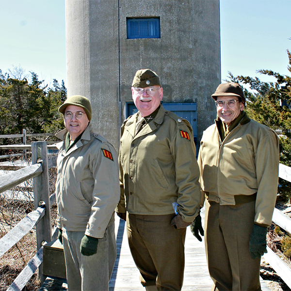 World War II Veterans in front of the Cape May World War II Lookout Tower