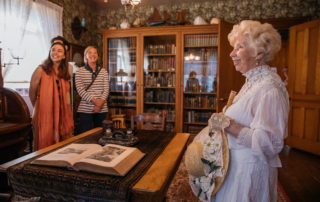 Victorian dress tour guide gives tour of the emlen physick estate in cape may new jersey