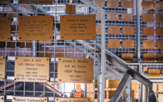 Plaques of world war ii veterans who have died inside the world war ii lookout tower in cape may new jersey