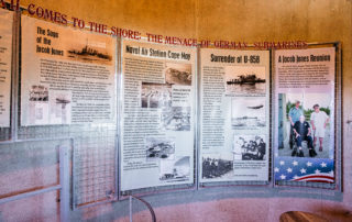 Images of an exhibit inside the World War II Lookout Tower in Cape May New Jersey for World War II Comes to the Shore: The Menace of German Submarines