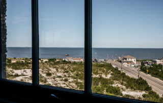 View of the Delaware Bay from a window on a top floor in the World War II Lookout Tower in Cape May, New Jersey