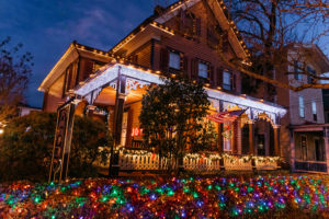 Henry Sawyer Bed & Breakfast decorated with christmas lights