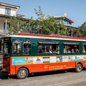 Cape May MAC Trolley filled with people on a tour of the town