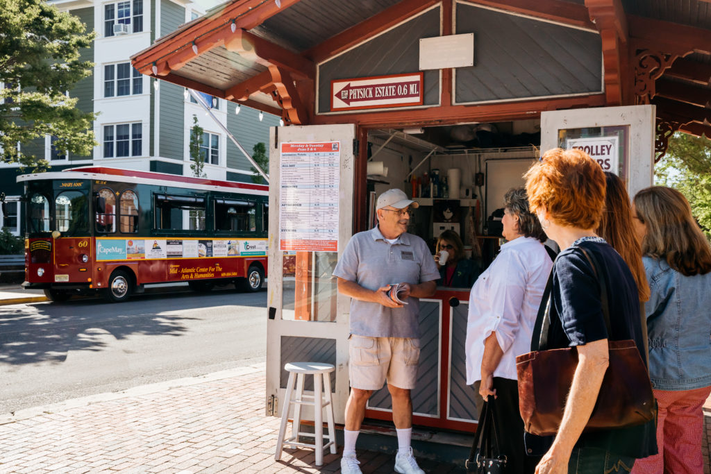 Washington Street Mall Info Booth and Cape May MAC Trolley