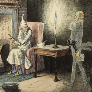 a christmas carol illustration of scrooge being visited by jacob marley