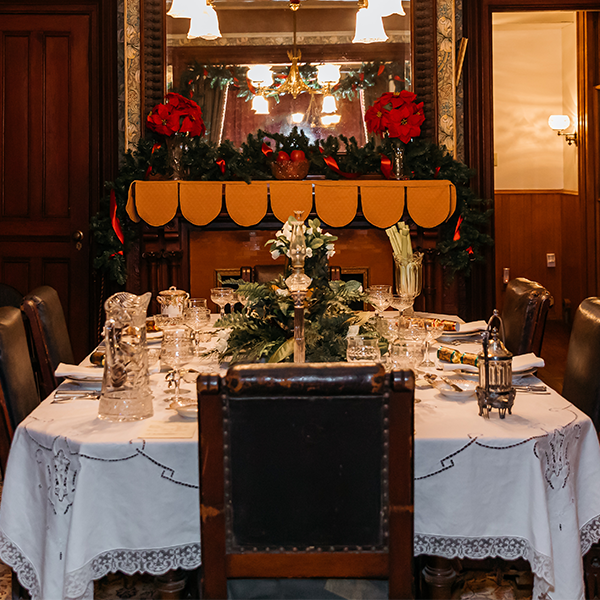 The cape may Emlen physick estate victorian house museum dining room decorated for christmas