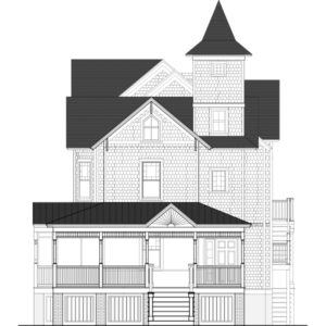 a architectural drawing of the Avalon House, a private home that was brought from avalon to cape may new jersey