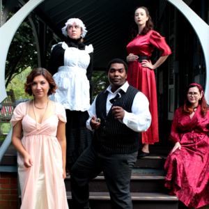 5 people dressed in victorian attire