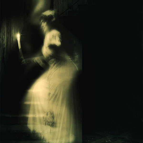 female ghost on staircase