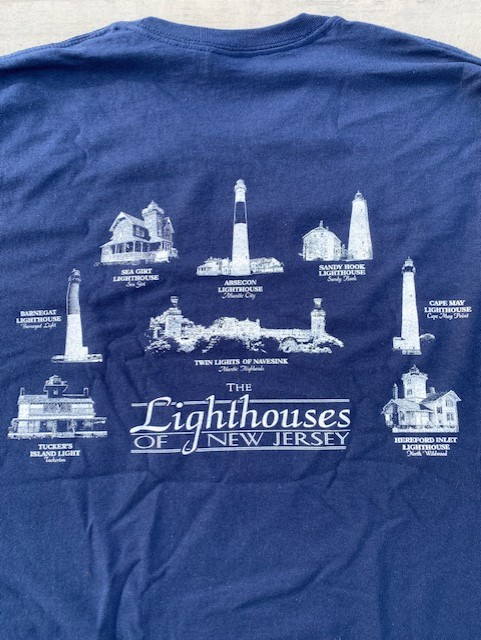 lighthouses of navy blue long sleeve shirt featuring the lighthouses of new jersey